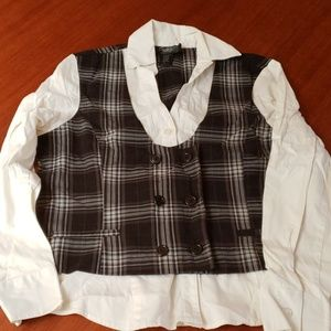 Mens dressy button down longsleeve shirtwith vest